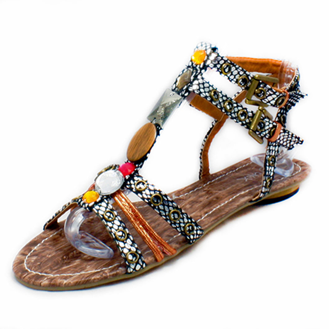 Snake effect flat strappy gladiator sandals Girls