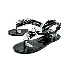 Load image into Gallery viewer, Jelly beach sandals with grey ruffled bar strap - CLEARANCE