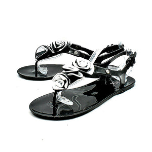 Jelly beach sandals with grey ruffled bar strap - CLEARANCE