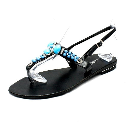 Black Turquoise diamante beaded flat sandals - CLEARANCE