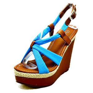 Fabric strappy high heel wedge sandals