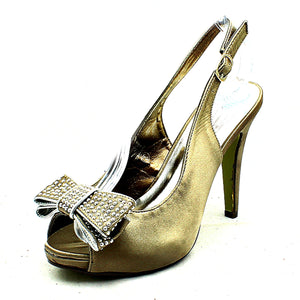 Satin high heel sling back shoes with large diamante bow