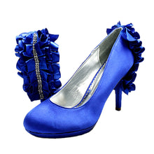 Load image into Gallery viewer, Satin ruffled + diamonte back high heel party court shoes