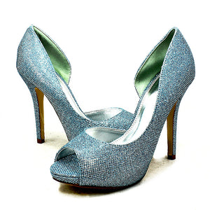 Glitter covered high heel one sided party shoes
