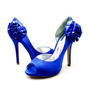 Satin rosette side high heel wedding bridesmaid shoes
