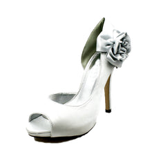 Load image into Gallery viewer, Satin rosette side high heel wedding bridesmaid shoes