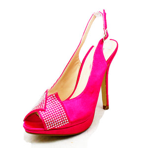 Satin crystal studded open toe sling back bridesmaid shoes