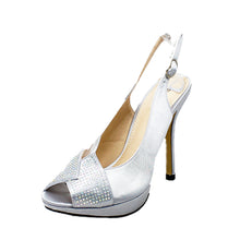 Load image into Gallery viewer, Satin crystal studded open toe sling back bridesmaid shoes