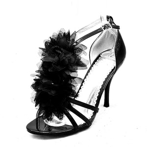 Satin ruffled front strappy high heel sandals / shoes