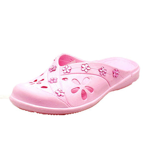 Pink open back rubber clog style beach shoes with jewel detail - CLEARANCE