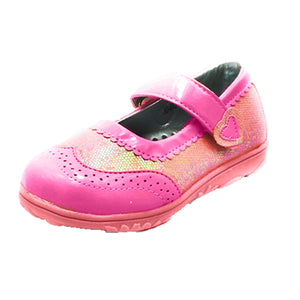 Girls Pink Sequinned adjustable fastening shoes