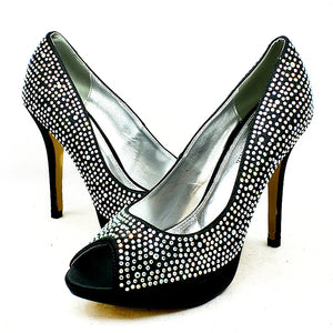 Satin peep toe sparkly detail high heel court shoes