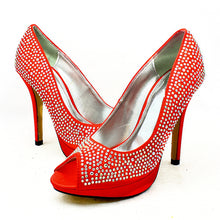 Load image into Gallery viewer, Satin peep toe sparkly detail high heel court shoes