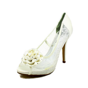 Lace mesh high heel wedding shoes with beaded satin bow