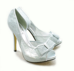 Lace high heel wedding shoes with bow peep toe