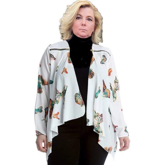 Zip shoulder waterfall jacket with butterfly print and zip shoulder