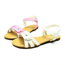 Load image into Gallery viewer, Girls flower adjustable fastening flat sandals