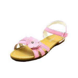 Girls flower adjustable fastening flat sandals