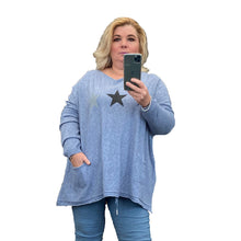 Load image into Gallery viewer, Soft Feel loose fitting jumper with sparkly stars + pockets