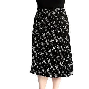 Calf Length Patterned elastic Waist Skirt- Plus Sizes too