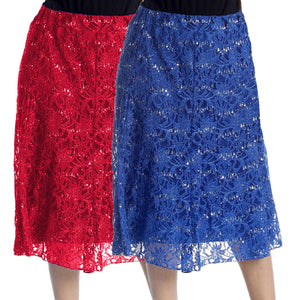 Calf Length Lace + sequin elastic Waist Skirt- Plus Sizes too