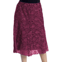Load image into Gallery viewer, Calf Length Lace + sequin elastic Waist Skirt- Plus Sizes too