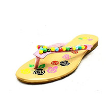 Load image into Gallery viewer, Older Girls / Ladies Pink beaded flip flop sandals
