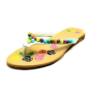 Older Girls / Ladies Pink beaded flip flop sandals