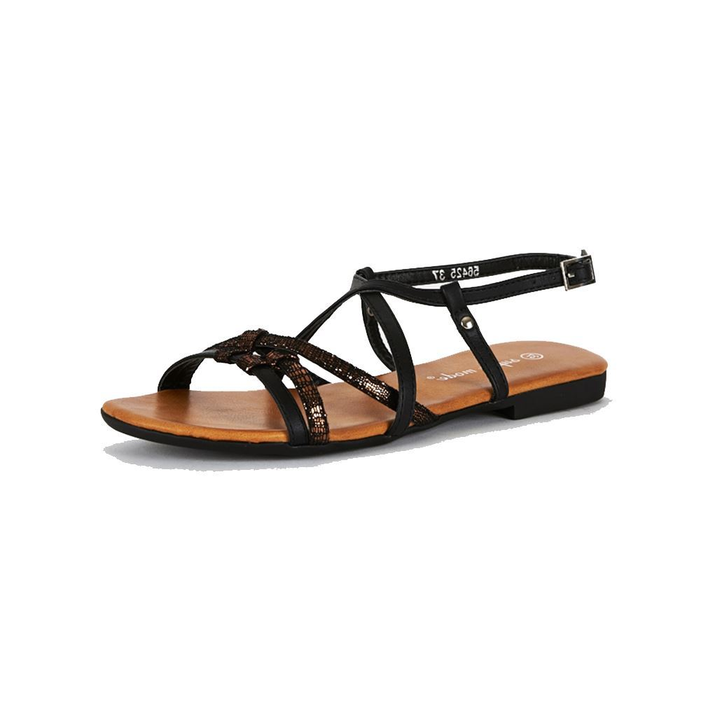 Black Criss Cross Caged flat sandals - CLEARANCE