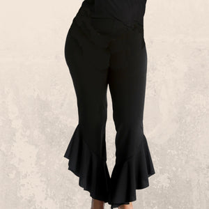 Black stretch fitted trousers with frilled hem - plus sizes
