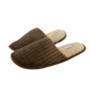 Cord open back fleece inner mule slippers MENS