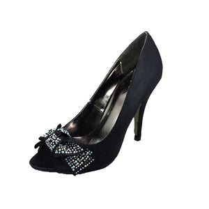 Black Satin Peep toe high heel court shoes with diamante bow