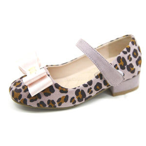 Girls / Childrens leopard Print low heel shoes with bow