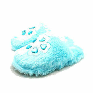 Fluffy mules open back slippers with flower gem detail