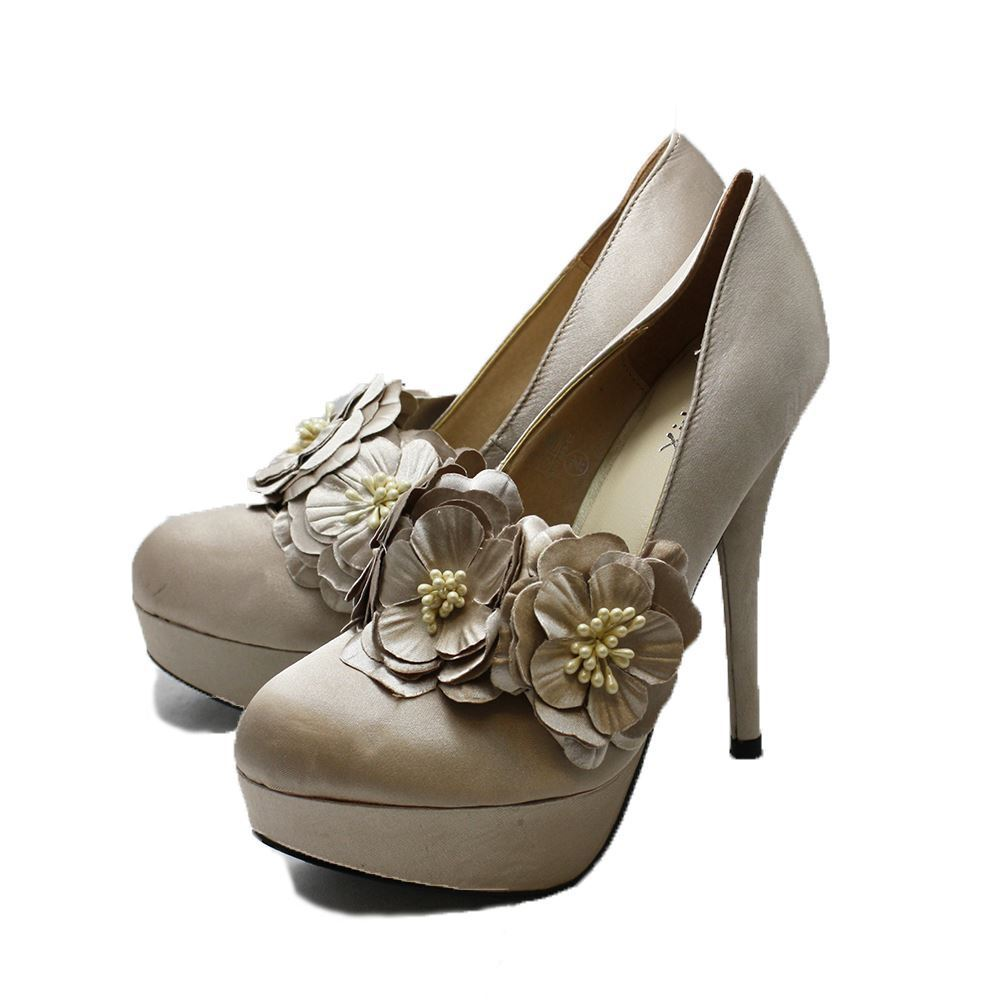 Champagne Satin high heel court shoes with flower strap
