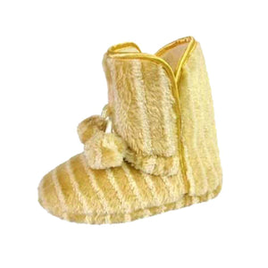 Beige / cream striped slippers slipper boots