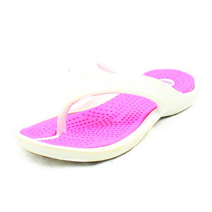 White / Pink rippled sole flip flops sandals / beach shoes - CLEARANCE