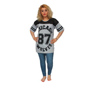 Loose fitting baseball style top with 87 chicago logo