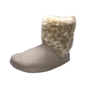 Beige Slipper boots with fur cuff and buttons