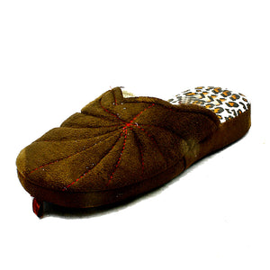 Open back slippers with leopard print detail