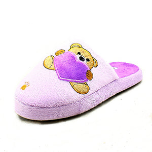 Teddy bear + Heart open back slippers