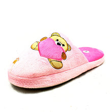 Load image into Gallery viewer, Teddy bear + Heart open back slippers