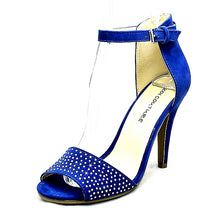 Load image into Gallery viewer, Suedette studded front high heel shoes with ankle strap
