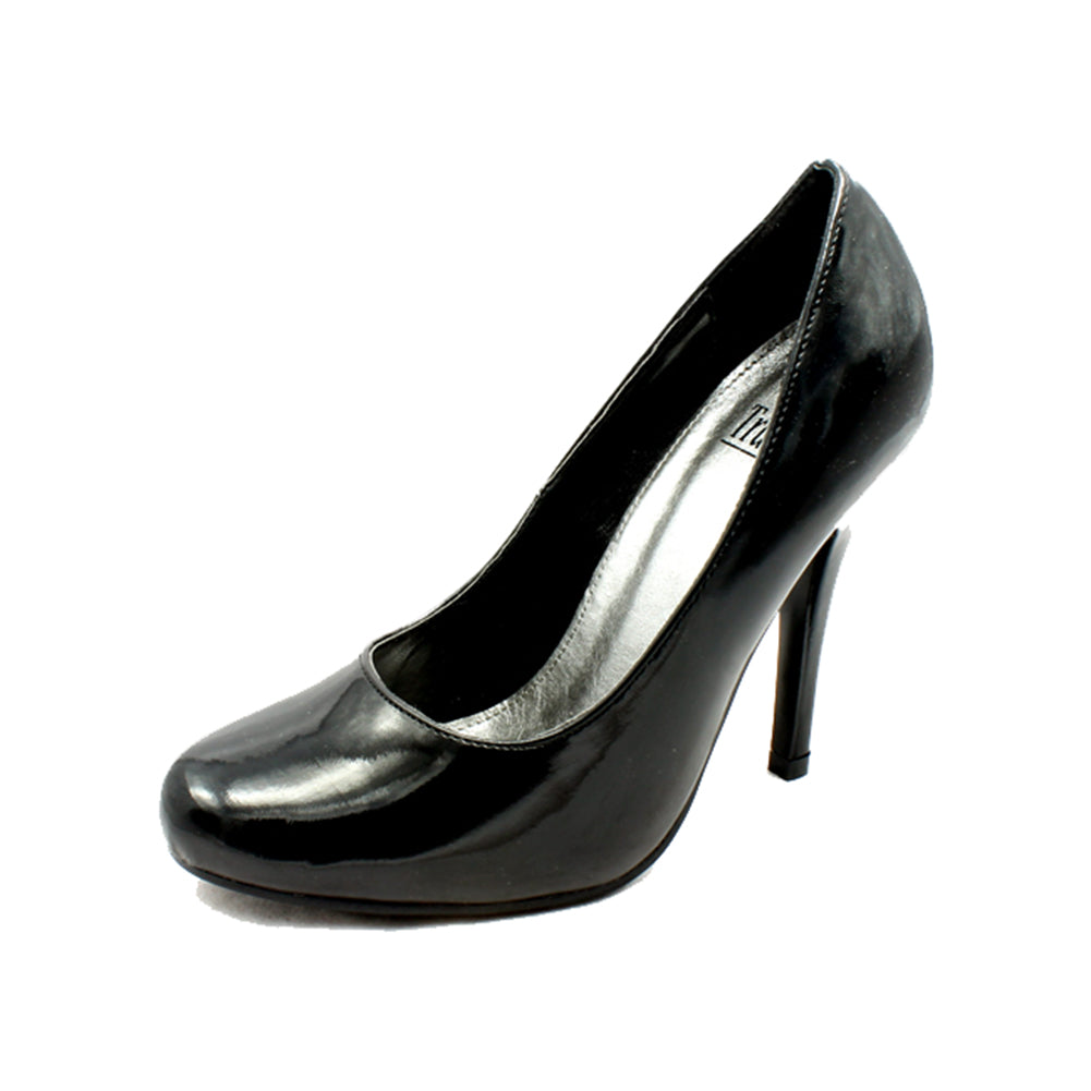 Black patent high heel rounded toe court shoes
