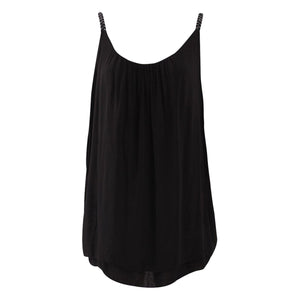 Metallic Strap layered cotton vest top