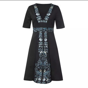 Black A line Dress with V neck and flower panels