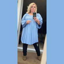 Load image into Gallery viewer, Long length cotton top / dress with crochet sleeve detail
