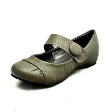 Load image into Gallery viewer, Grey flat Mary jane style court shoes with bar strap