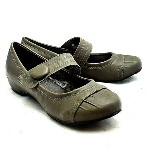 Grey flat Mary jane style court shoes with bar strap