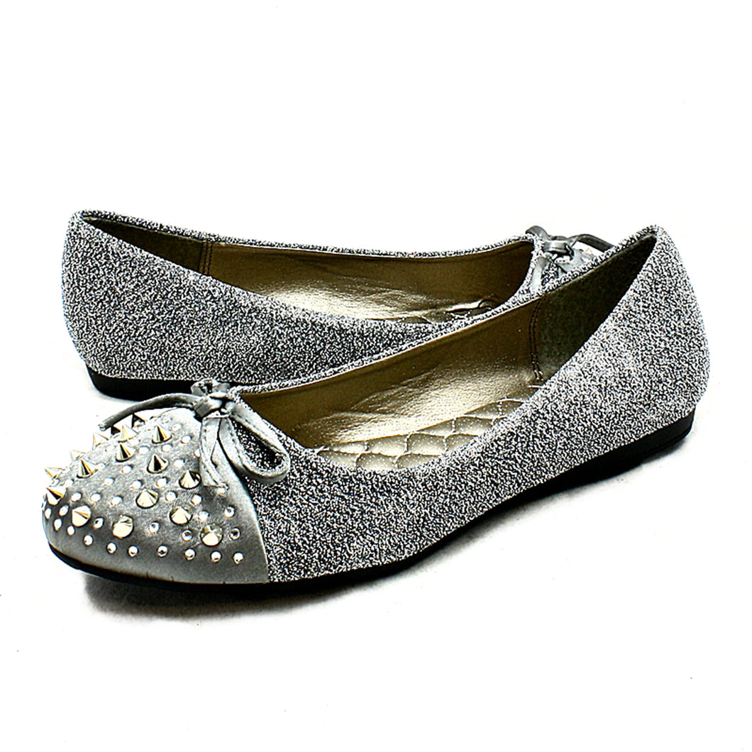 Sparkly spiked toe cap flat shoes with bow